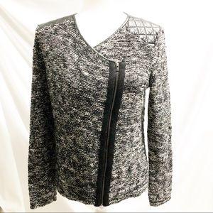 Ann Taylor Moto Sweater Jacket Wool Blend Black